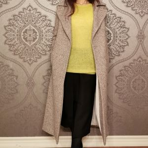 Mango Premium Wool Wrap Coat Long Tweed Belt